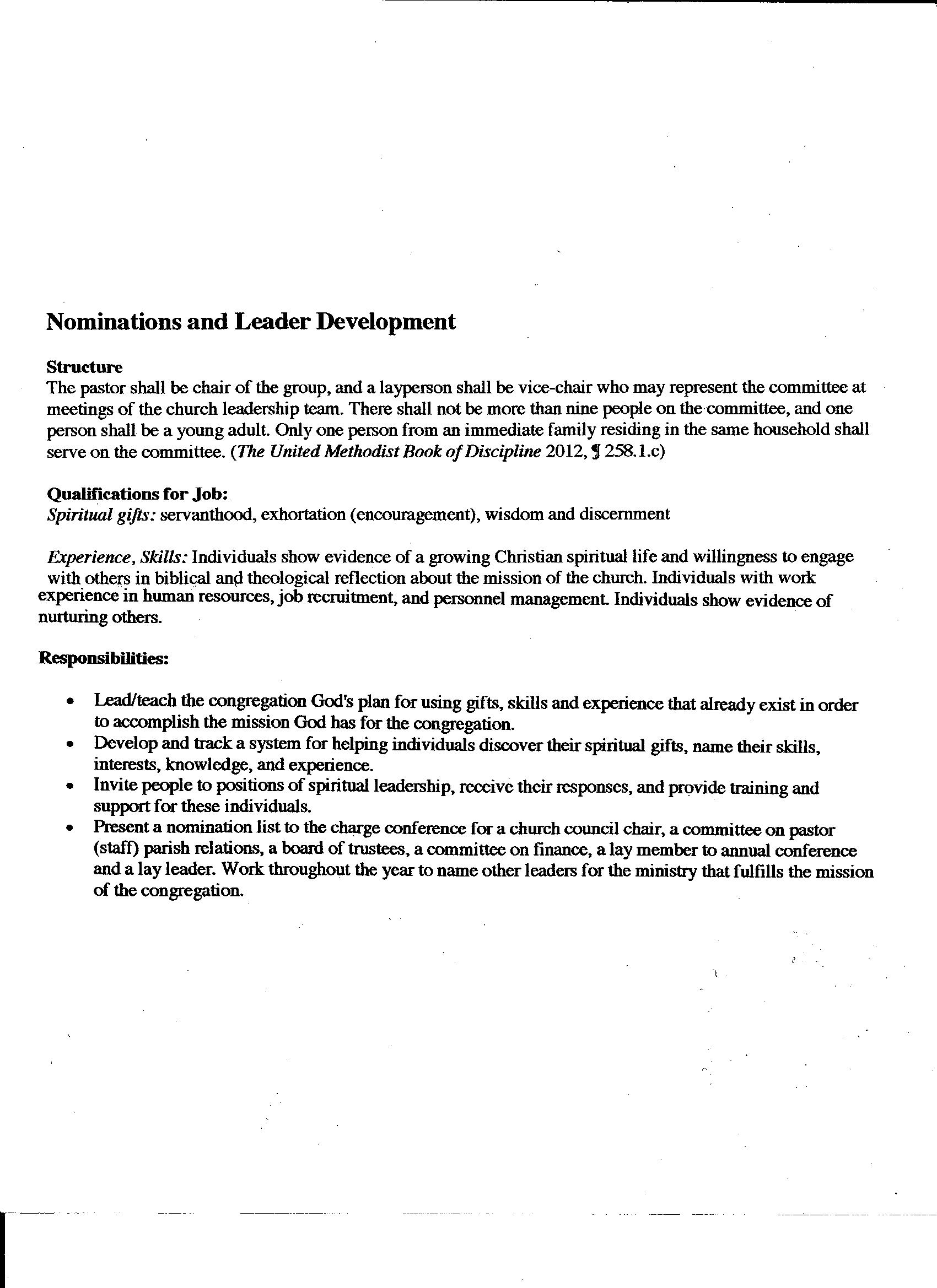 Nominations & Leader Development